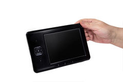 Tablet in the hand of an elderly lady Royalty Free Stock Photo