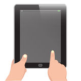 Tablet with hand holding and forefinger  Royalty Free Stock Photo