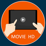 Tablet hand movie application horizon vector Royalty Free Stock Photo