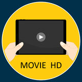 Tablet hand movie hd application horizon vector Stock Photography