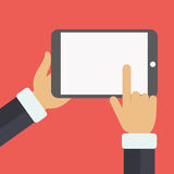 Tablet. Hand touching blank screen of tablet computer. Flat  illustration Stock Photography