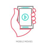 Tablet on the hand with video player. Line vector illustration eps 10 Royalty Free Stock Photo