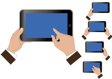 Tablet in the hands. Vector of tablet in the hands Stock Image