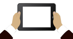 Tablet in hands of the businessman. Modern PC tablet in hands of the businessman Royalty Free Stock Photography