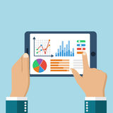 The tablet in the hands of a businessman with statistical data p. Resented in the form of digital graphs and charts. Financial analysis, statistics. Vector Royalty Free Stock Images
