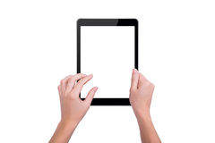 The tablet in the hands of a girl Stock Photos