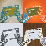 Tablet with Hands Graphic Design. Typographic Elements Royalty Free Stock Photos