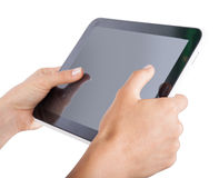 Tablet in hands on an isolated Royalty Free Stock Images