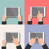 A tablet in the hands  Navigation, use  Vector flat Stock Images