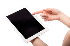 Tablet and Hands on White Background Stock Photography