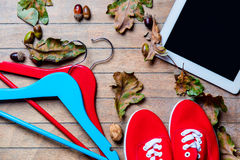 Tablet, hangers, gumshoes and fallen leaves Royalty Free Stock Photography