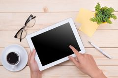 Free Tablet Header Image. Office Stuff, Workplace, Top View Royalty Free Stock Photography - 101548967