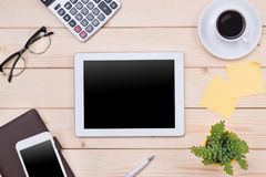 Tablet header image. Office stuff, workplace, top view.  Stock Image