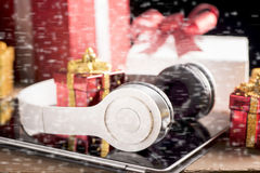 Tablet and headphone best Christmas gifts Stock Photography