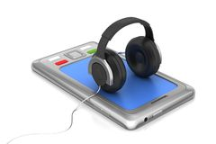 Tablet with headphone Royalty Free Stock Photos