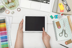 Tablet hero header. Top view home office creative tablet hero header Stock Photography
