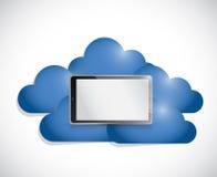 Tablet in het midden van een reeks wolken. Stock Foto's