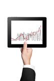 Tablet with higher graph isolated on white background Royalty Free Stock Image