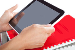 Tablet in his hands Royalty Free Stock Photo