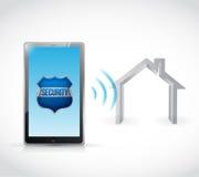 Tablet home security software illustration design. Over a white backgroundcomputer home security software illustration vector illustration