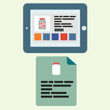 Tablet in a horizontal state with an open Internet pharmacy and a leaflet with this medicine in flat style Royalty Free Stock Image