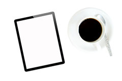 Tablet and hot coffee Stock Photo