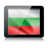 Tablet icon with bulgarian flag. On white Stock Image