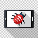 Tablet icon in flat style infected by malware on transparent background. Tablet icon in flat style infected by malware with long shadow on transparent background stock illustration