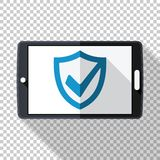 Tablet icon in flat style with security shield on the screen on transparent background. Tablet icon in flat style with security shield on the screen and long vector illustration