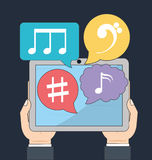 Tablet icon. Music online and Technology. Vector graphic Stock Photography