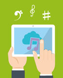 Tablet icon. Music online and Technology. Vector graphic Royalty Free Stock Images