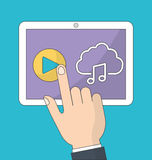 Tablet icon. Music online and Technology. Vector graphic Stock Images