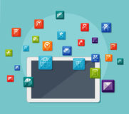 Tablet with icons on communication concept Stock Images