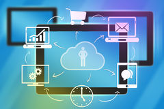 Tablet and icons the foreground in cloud. Stock Photo