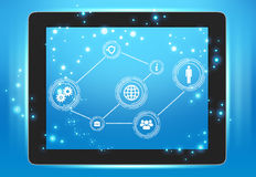 Tablet with icons on the screen interconnected. Points Royalty Free Stock Images