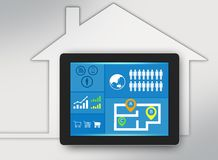 Tablet with icons on screen and surrounded the Royalty Free Stock Photo
