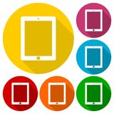 Tablet icons set with long shadow Royalty Free Stock Photography