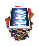 Tablet with the image of books on a stack of books  on white background Royalty Free Stock Image