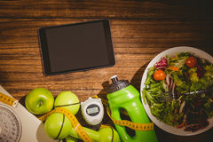 Tablet with indicators of healthy lifestyle Royalty Free Stock Image