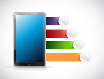 Tablet and infographic design space Stock Image