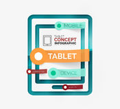 Tablet infographic scheme with tags Royalty Free Stock Photo