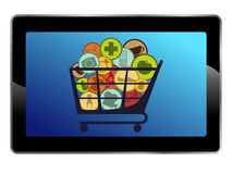 Tablet. Isolated tablet with different prodacts icons royalty free illustration
