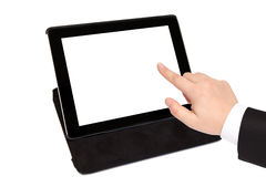 Tablet with isolated screen in black carrying case and businessm Stock Photography