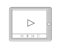 Tablet Isolated on White. Video Marketing. Approaches, methods and measures to promote products and services based on video. Online video, internet technology Stock Image