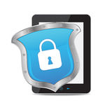 Tablet and key on white background Stock Photo