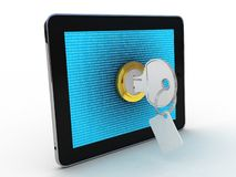 Tablet and key on white background Royalty Free Stock Photography