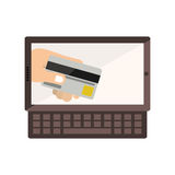 Tablet and keyboard with display with credit card in hand Stock Images