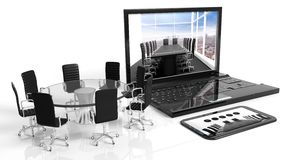 Tablet, laptop and round glass meeting table with chairs Stock Images