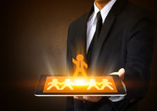 Tablet with leadership concept. Tablet touch screen with leadership concept Royalty Free Stock Photo