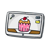 tablet Leuke vectorkrabbelschets op wit Royalty-vrije Stock Foto's